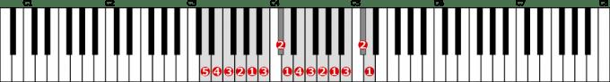 ニ短調旋律的短音階左手2オクターブ上行の位置と指番号